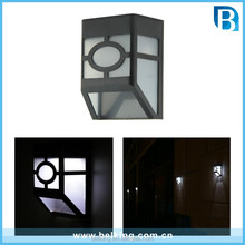 Solar Powered Wall Mount 2 LED Lights Lamp Outdoor Landscape Garden Yard Fence Cool White Light