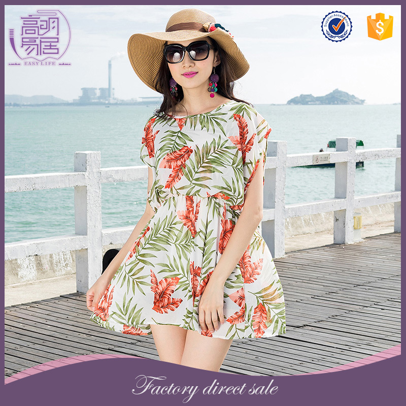 Thailand Wolesale Women Clothing Bohemian Style Cap Sleeve Chiffon Short Frock Dress