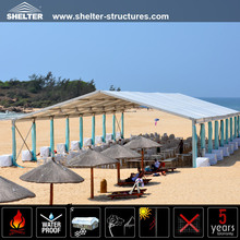 Outdoor beach shelters with UV-protection cover