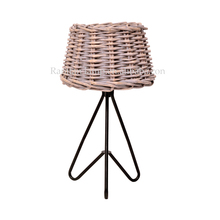 willow weaving shade metal base traditional table lamp