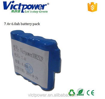 lithium battery pack 2s2p 7.4v 6000mah battery pack for LED light