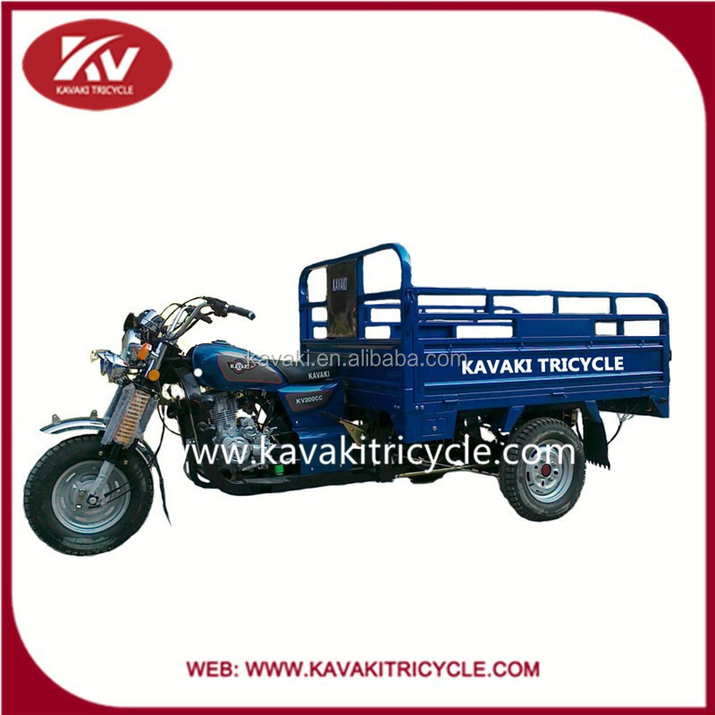 2016 Guangzhou KAVAKI factory hot sale three wheel gasoline cargo motorcycle with good cabin hot sale in Philippine and Africa