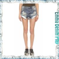 Vintage Light Blue Wash High Waisted Damaged Cut Offs Rolled Jean Denim Shorts Woman