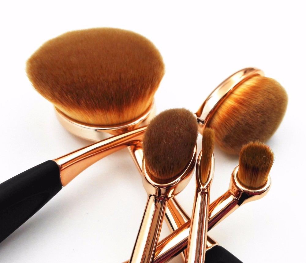 MAKEUP COSMETIC Wholesale Make Your Own Brand Rosegold Oval Private Label Free Sample 10pcs Set Tooth Makeup Brush