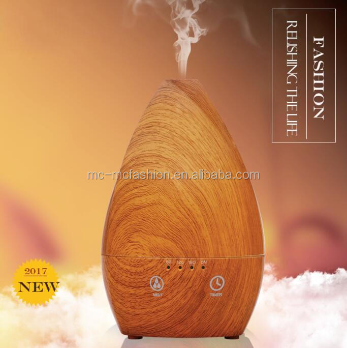 2017 cheap price electric ultrasonic air humidifier purifier water drop essential oil aroma diffuser with dark wood color