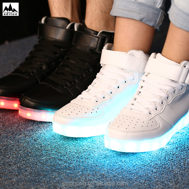 Hot Sell Unisex High Top USB Charging 7 Colors LED Shoes