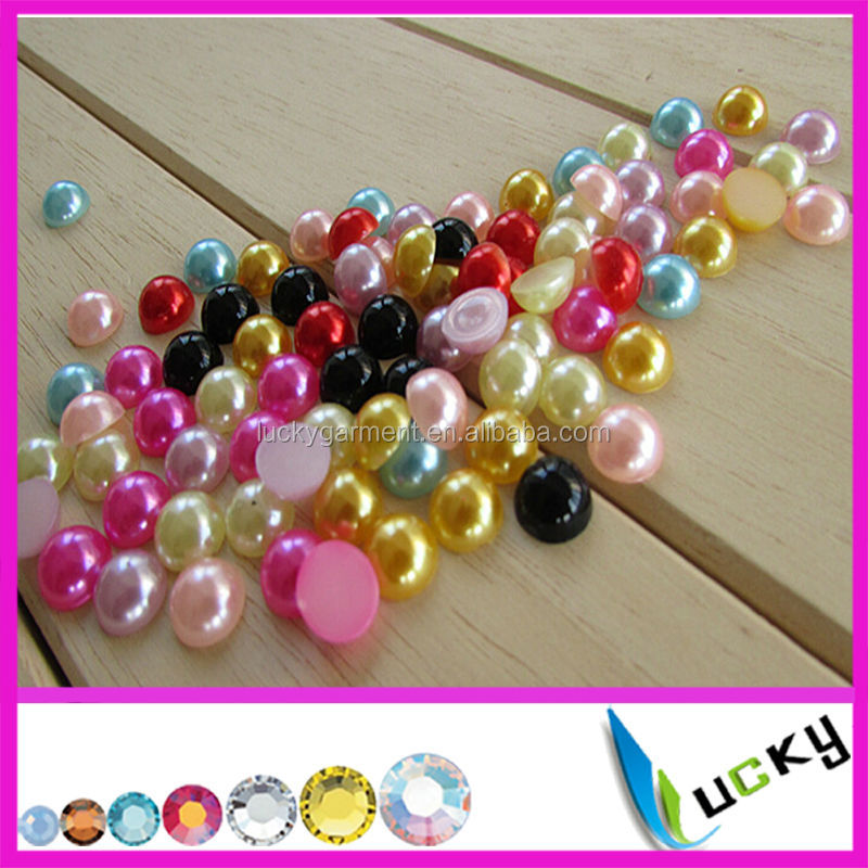 2015New AB colors flatback rhinestone half round pearl beads for nail art phone decorations