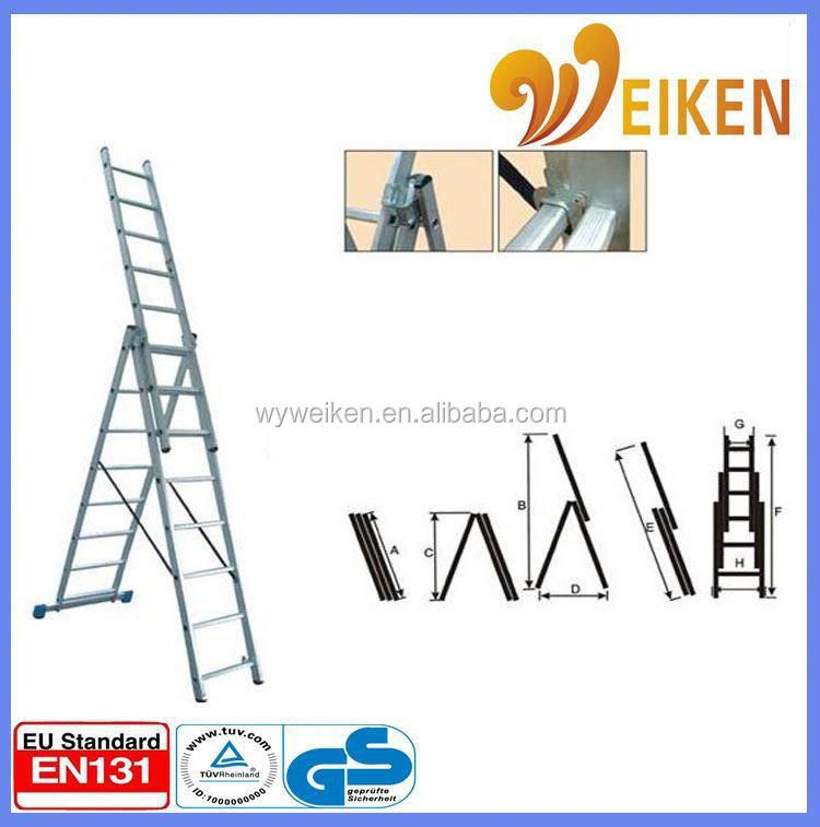 WK-E07 folding aluminum three parts aluminum super triple section extension ladder