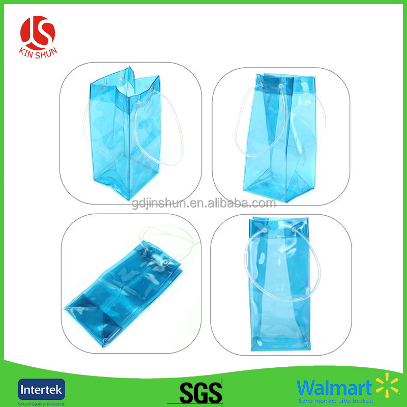 Transparency PVC Wine Cooler Blue Plastic Ice Bags with Handle