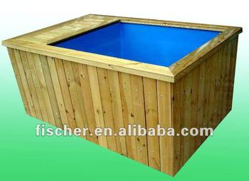Koi fiberglass tank with wooden decoration buy koi tank for Koi tank size
