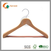 Wooden hangers with cherry color and round bar