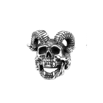 Punk Skull Jewelry Alternative Engraved Casting Men Stainless Steel Skull Ring