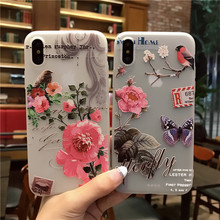 Birds Butterfly Flower Print TPU Phone Case For Iphone X