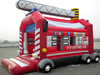 customized fire fighting inflatable bouncer, inflatable truck bouncy castle