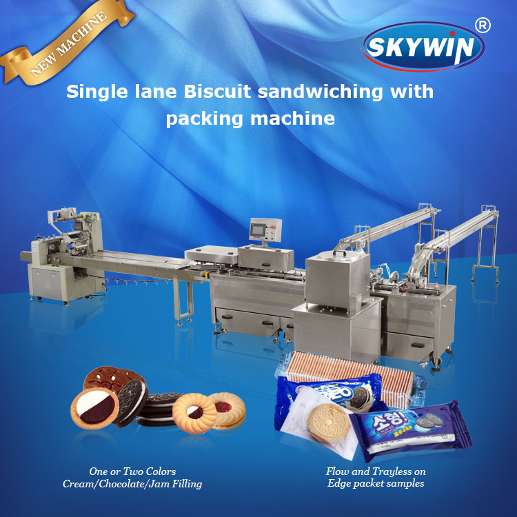 Ice Cream Sandwich Machinery Automatic Sandwich Cream Biscuit Making Machine And Packing Line