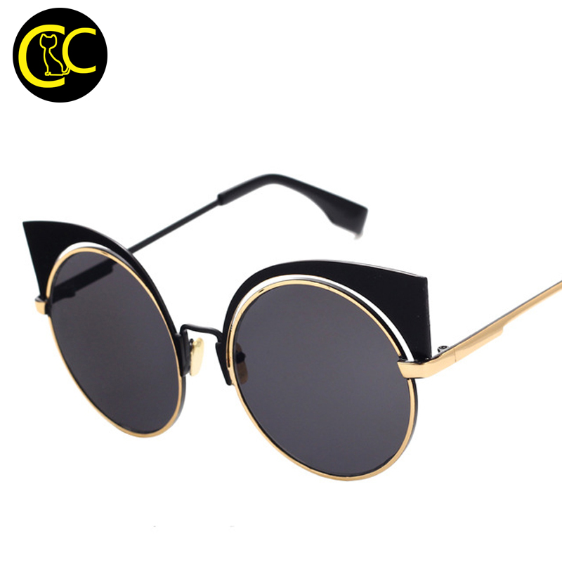 2016 Summer Style Cat Eye Sunglasses Women Brand Designer Round Circle Sun glasses Mirror lens Shades Cateye Sunglasses CC0552