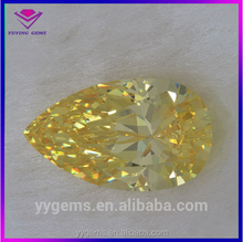 ice stone cubic zirconia pear shaped loose yellow cz