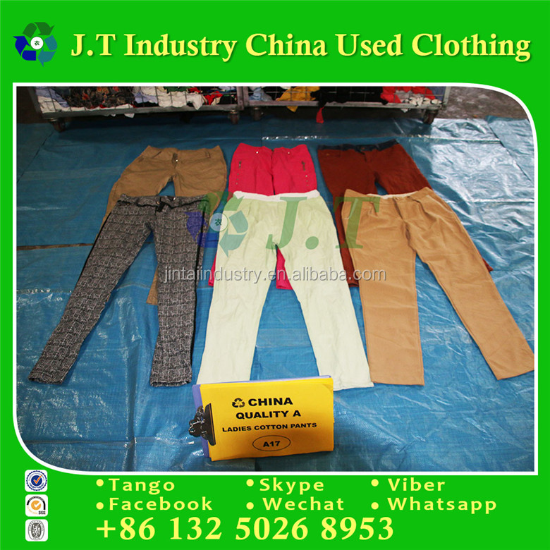 Korea used clothing ladies cotton pants in bales