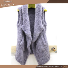 Wholesale Purple Real Mink Fur Vest Dyed Knitted Mink Fur Shawl