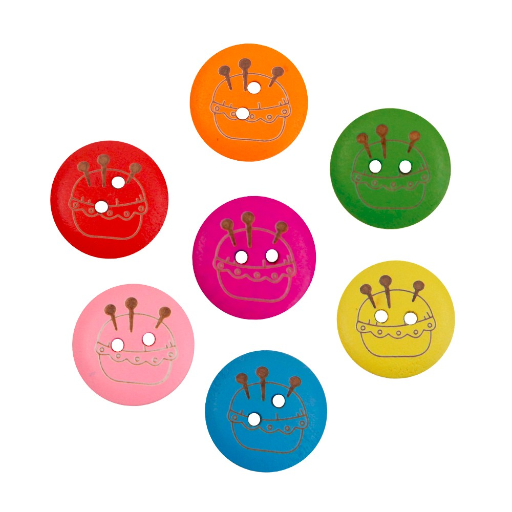D&D Hot Sale 15pcs/lot Mixed Color Scrapbooking Round Shape Sewing Wooden Buttons Sewing Supplies 20mm Two Holes