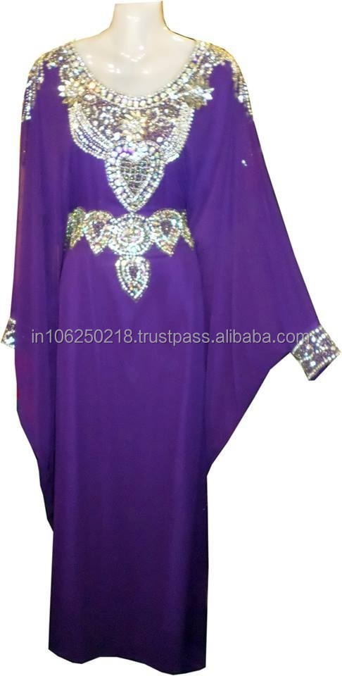 purple Fashionable Latest elegant ethnic Middle East Kaftan arabic abaya design dubai islamic muslim dress k6953