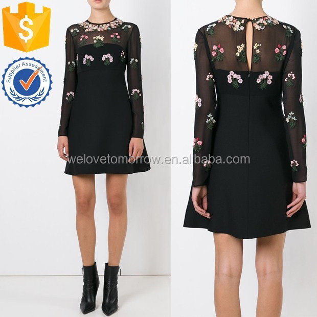 Wholesale women long sleeve black virgin wool-silk blend floral embroidered dress