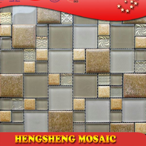 Latest design decoration wall tile floor tile glass mix ceramic mosaic colorful stone-coated metal roofing tiles