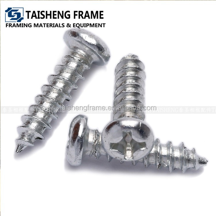 Silver color round head self tapping screw