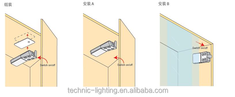 Batterij Aangedreven Led Cabinet Light Met Deurschakelaar