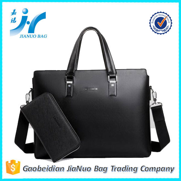 Black leather rolling fireproof briefcase with secret compartment