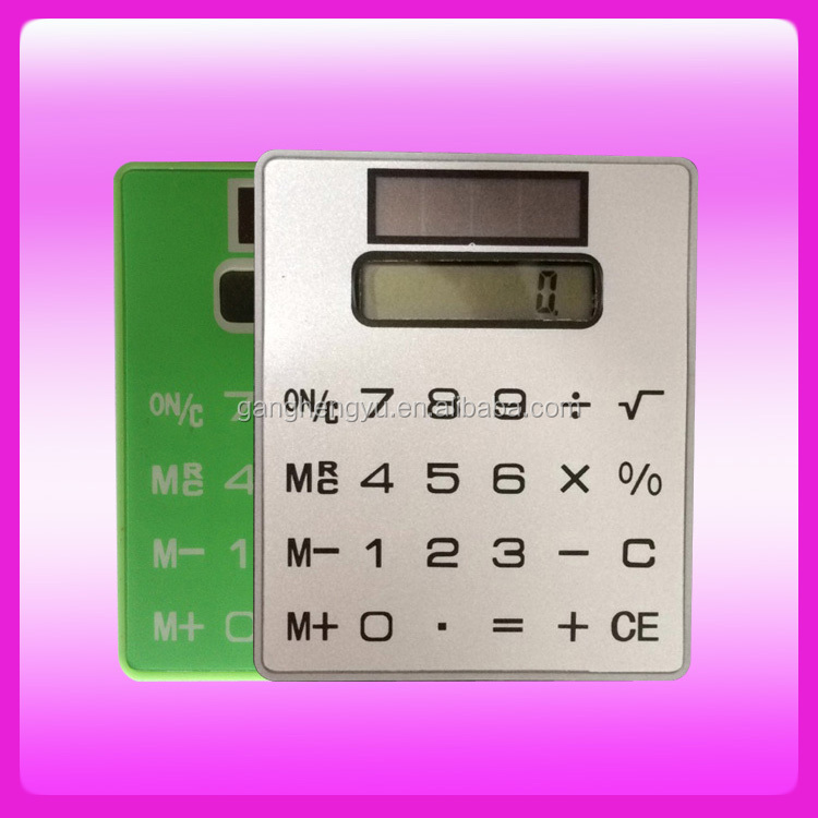 Mini Slim Card Shape Solar Power Touch Screen Pocket Calculator