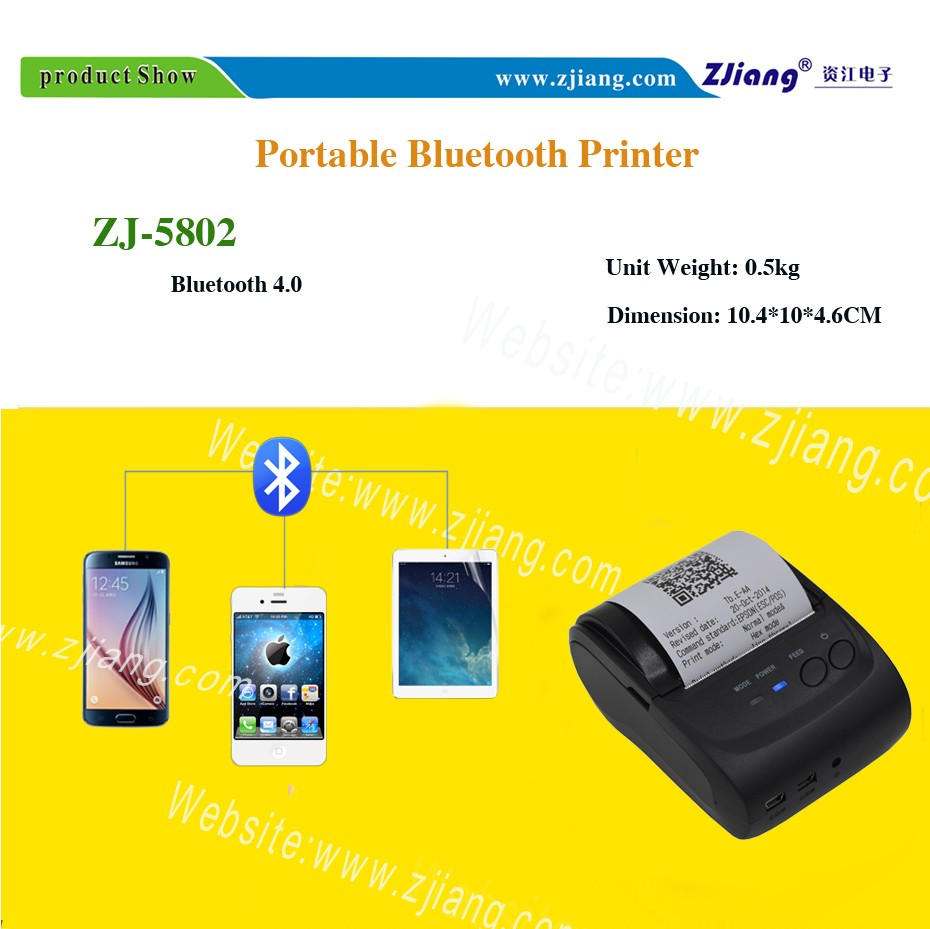 China Desktop Printer Manufacturer Zjiang Android 58mm Mobile Mini Portable Bluetooth Thermal Receipt 5807 Printing Does Not Make Use Of Ink Or Toner Unlike Many Other Forms But Largely Depends On Papers For Producing The Images