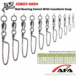 Ball Bearing swivel with coastlock snap fishing accessories JSM07-4004