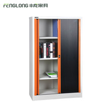 Black steel book storage file cabinets with rolling shutter door
