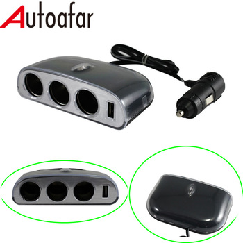 One USB Three Sockets Charger Adapter Car Cigarette Lighter