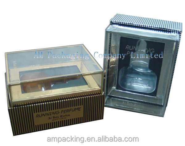 bespoke luxury perfume cardboard gift set up box with clear lid from dongguan factory