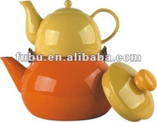 enamel kettle and porcelain tea pot