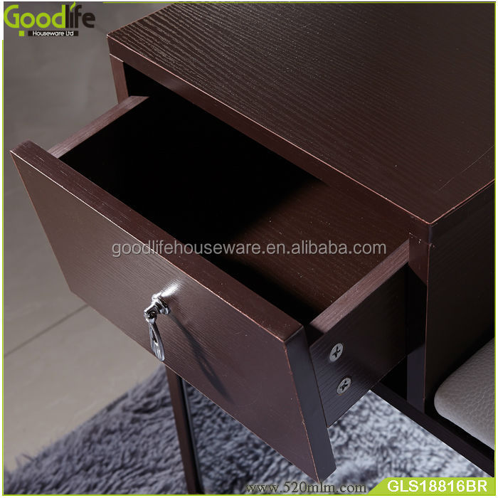 Fashion corner shoe cabinet with PU seat
