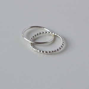 Interlocked Double Band Ring Gold Beaded Band Delicate Stainless Steel Rings