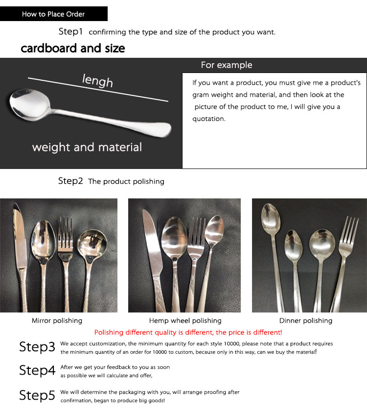 Wholesale stainless steel flatware spoon fork knife cutlery set