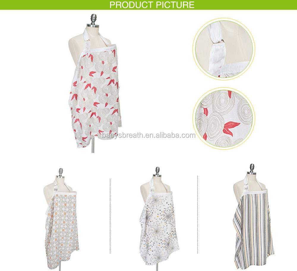 MSR018A eco-friendly super soft breathable lovely muslin nursing cover