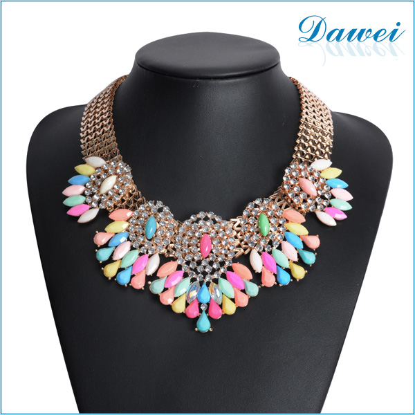 yiwu supplier 1pc wholesale colorful resin accessories jewelry gold necklace