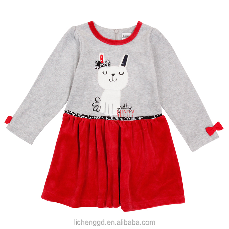 (H6958F Presell) NOVA kids latest fancy design children dress clothes beautiful floral fleece baby cute cat girl winter dresses