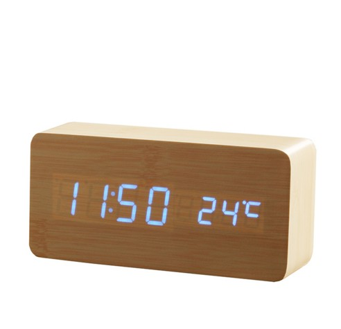Wooden LED Alarm+Time/date/temperature Digital Bamboo Wood Voice Activated Table Clocks