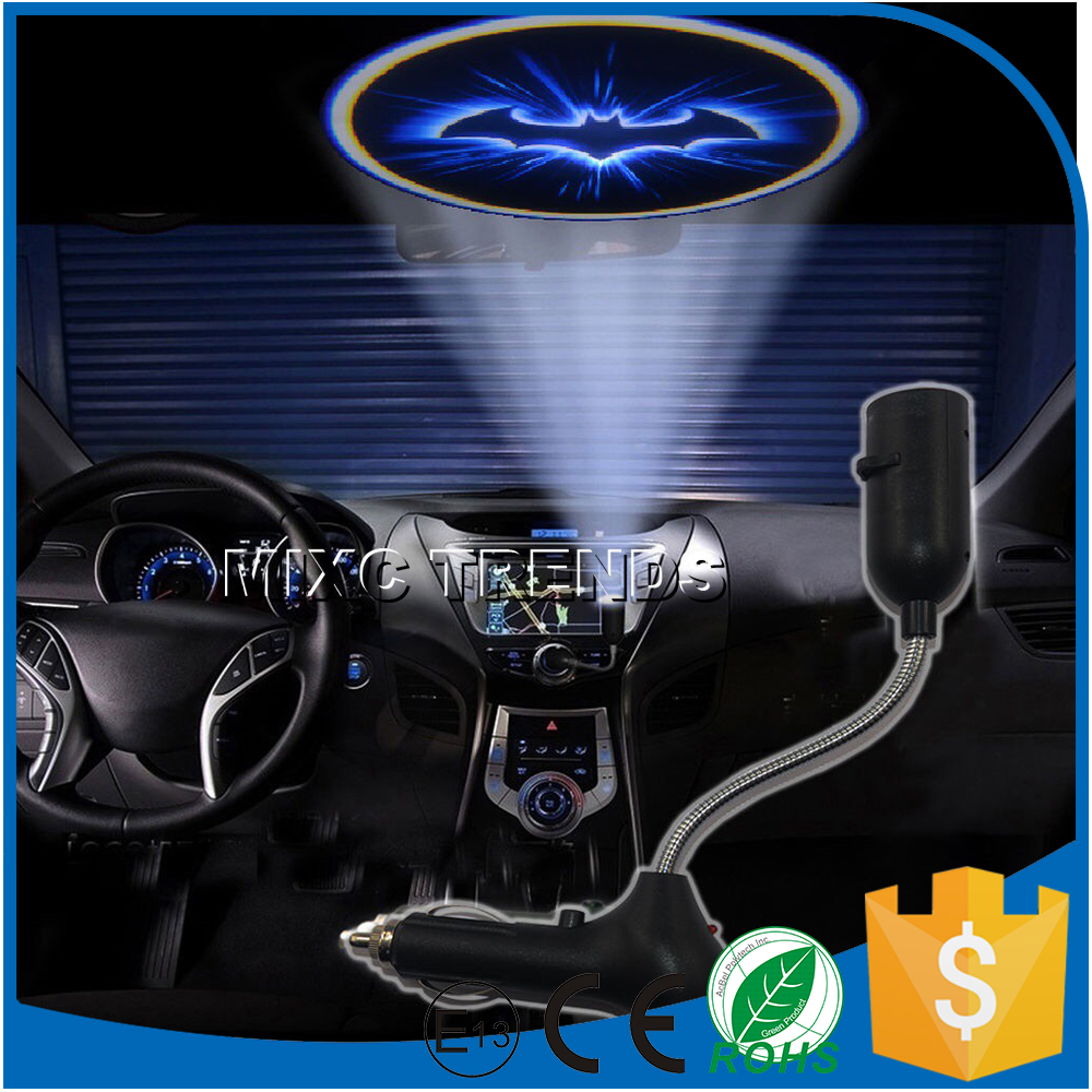 Brand New Car Cigarette lighter roof LED projector welcome logo light car -mounted USB mobile phone charger