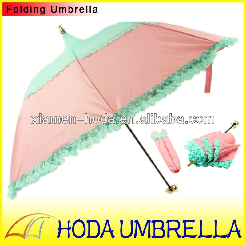 Pagoda umbrella/Apolo umbrella/princess folding umbrella with flower edge