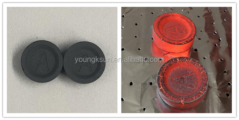 YKS 33mm fruit instant round hookah charcoal for shisha