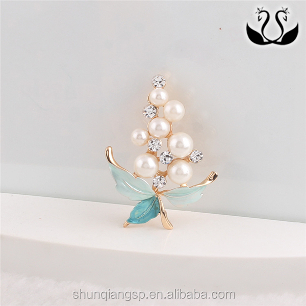 Fashion Wedding Jewelry Enamel Pearl Flower Brooch Frames