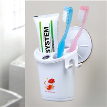 Sanitary Design Suction Plastic Cup Holder For Toothbrush Toothpaste And Razor