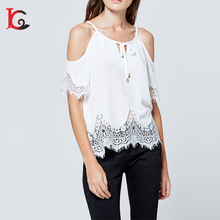 New Coming Fashion Design O Neck White Lace Bandage Chiffon Blouse Off Shoulder Latest Women Tops